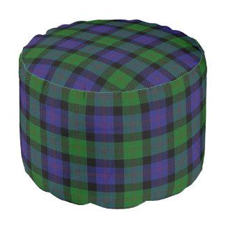Clan Blair Scottish Style Blue Green Tartan Pouf