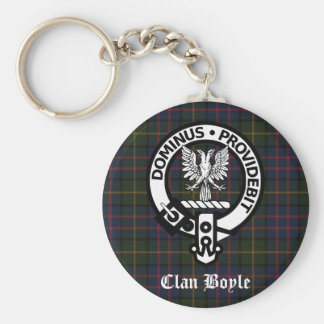 Clan Boyle Crest & Tartan Basic Round Button Key Ring