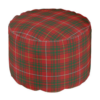 Clan Bruce Scottish Style Red Green Tartan Pouf