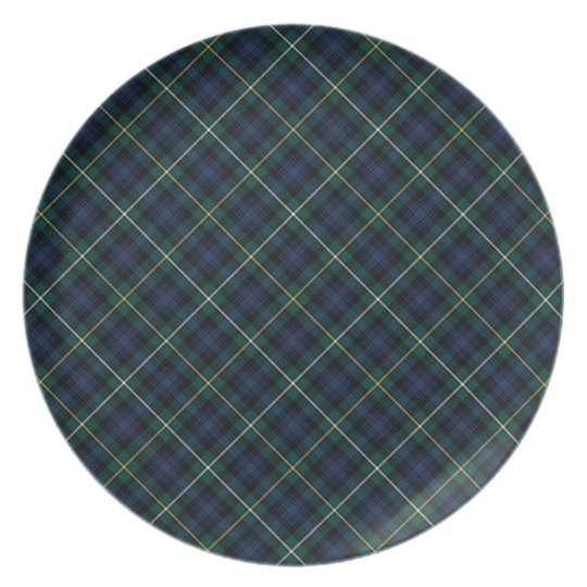 Clan Campbell Navy Blue and Green Scottish Tartan Plate