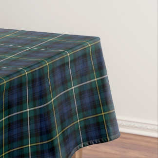 Clan Campbell Navy Blue and Green Scottish Tartan Tablecloth