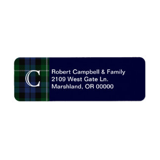 Clan Campbell Plaid Monogram Custom Address Label