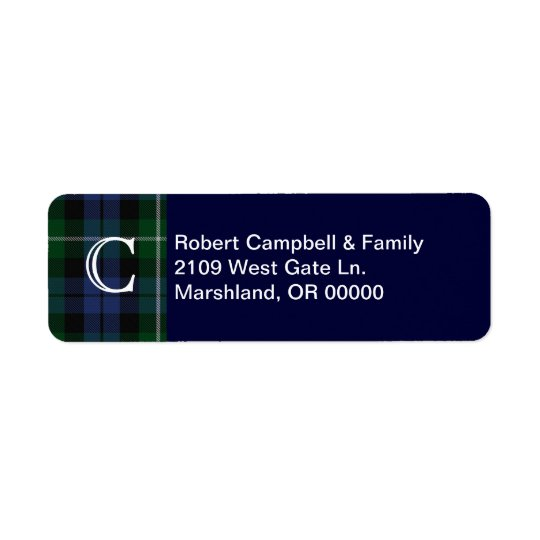 Clan Campbell Plaid Monogram Custom Address Label
