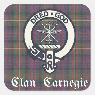 Clan Carnegie Crest Tartan Square Sticker