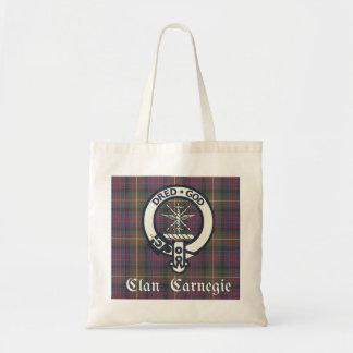 Clan Carnegie Crest Tartan Tote Bag