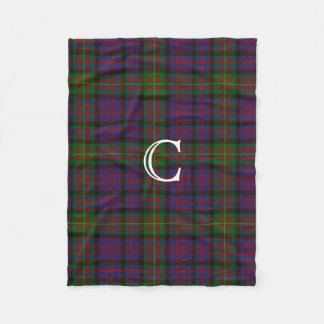 Clan Carnegie Plaid Monogram Fleece Blanket