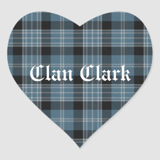 Clan Clark Tartan Heart Sticker