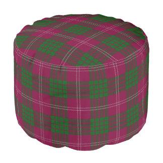 Clan Crawford Scottish Style Purple Green Tartan Pouf