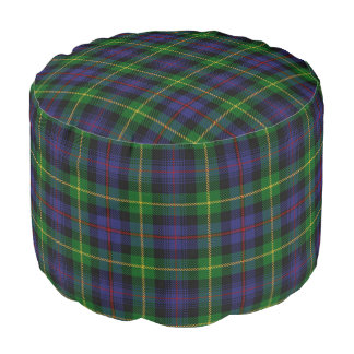 Clan Farquharson Scottish Style Blue Green Tartan Pouf
