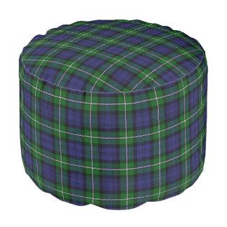 Clan Forbes Scottish Style Blue Green Tartan Pouf