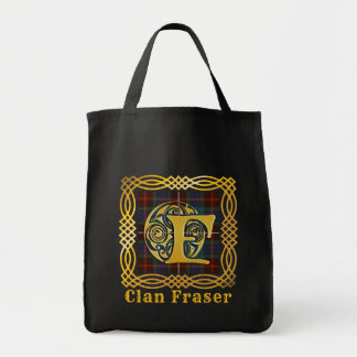 Clan Fraser Ancient Tartan F Initial - Customize Tote Bag