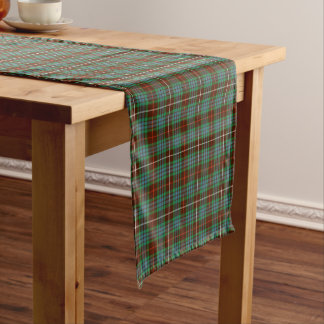 Clan Fraser Brown and Green Hunting Tartan Short Table Runner