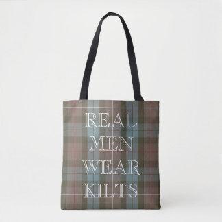 Clan Fraser Hunting Tartan Weathered Custom Text Tote Bag