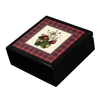 Clan Fraser Modern Tartan with Vintage Strawberry Gift Box