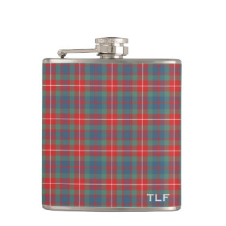 Clan Fraser of Lovat Ancient Tartan Monogram Hip Flask