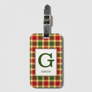 Clan Gibbs Tartan Monogrammed Luggage Tag