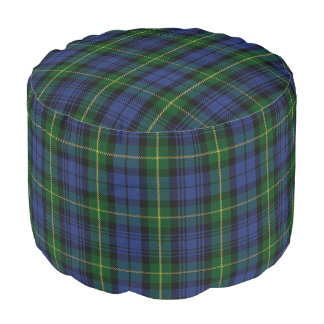 Clan Gordon Scottish Style Blue Green Tartan Pouf
