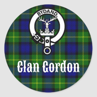 Clan Gordon Tartan Crest Classic Round Sticker