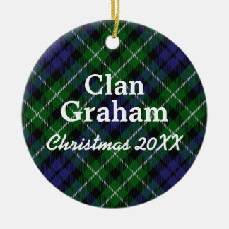 Clan Graham Scottish Tartan Round Ceramic Decoration