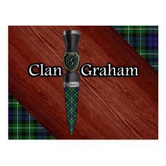 Clan Graham Tartan Sgian Dubh Blade Postcard