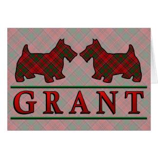 Clan Grant Tartan Scottie Dogs Card