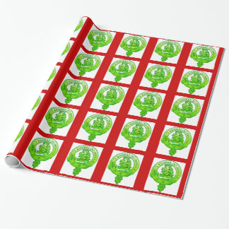 Clan Gregor Christmas Wrap Green Badge Wrapping Paper