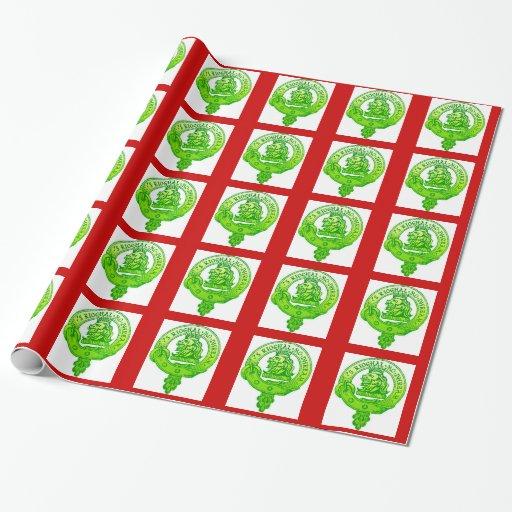 Clan Gregor Christmas Wrap Green Badge Gift Wrap