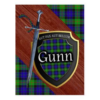 Clan Gunn Tartan Sword & Shield Postcard