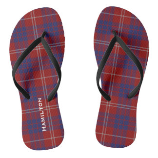 Clan Hamilton Plaid Personalized Flip Flops