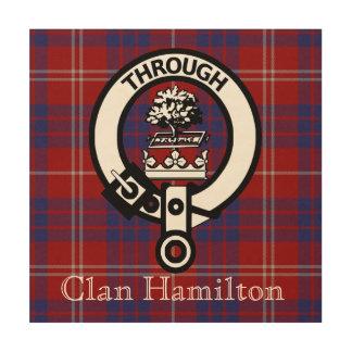 Clan Hamilton Tartan and Crest Badge Wood Canvas