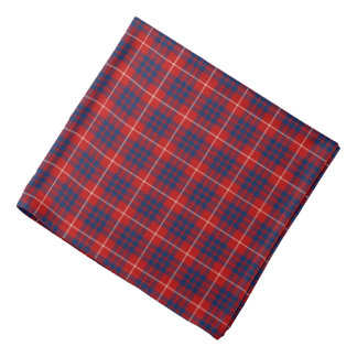 Clan Hamilton Tartan Red and Royal Blue Plaid Bandana
