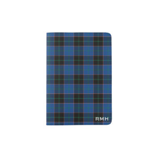 Clan Hume Royal Blue and Black Tartan Monogram Passport Holder