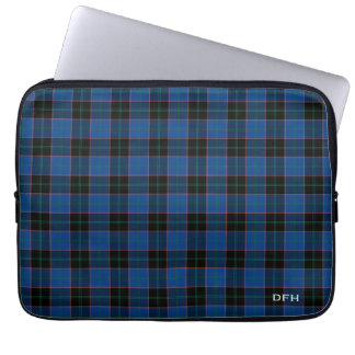 Clan Hume Tartan Blue and Black Plaid Monogram Computer Sleeves