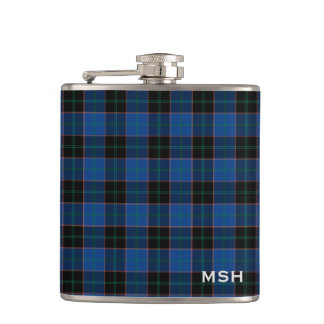 Clan Hume Tartan Blue and Black Plaid Monogram Hip Flask