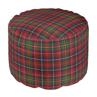 Clan Innes Scottish Style Red Green Black Tartan Pouf