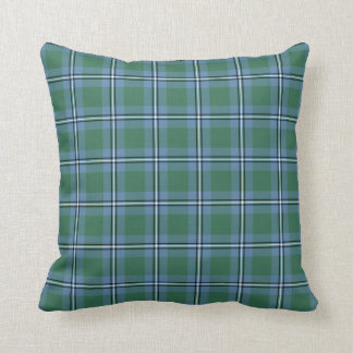 Clan Irvine Tartan Light Blue and Green Plaid Cushion