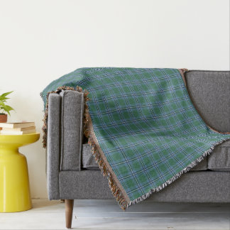 Clan Irvine Tartan Light Blue and Green Plaid Throw Blanket