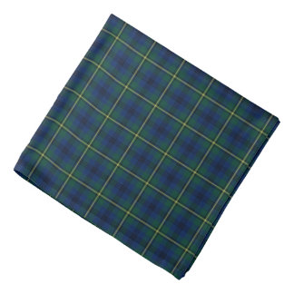 Clan Johnston Green, Blue and Yellow Tartan Bandana