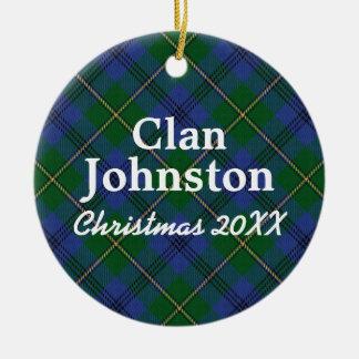 Clan Johnston Scottish Tartan Ceramic Ornament