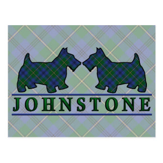 Clan Johnstone Johnston Tartan Scottie Dogs Postcard