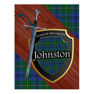 Clan Johnstone Johnston Tartan Sword & Shield Postcard