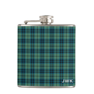 Clan Keith Light Green Scottish Tartan Monogram Hip Flask