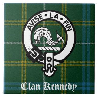 Clan Kennedy Crest Tartan Large Square Tile