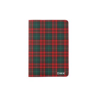 Clan Kerr Red and Forest Green Tartan Monogram Passport Holder