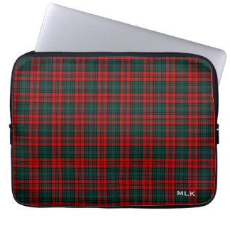 Clan Kerr Tartan Red and Green Plaid Monogrammed Laptop Sleeve