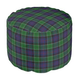 Clan Leslie Scottish Style Blue Green Tartan Pouf