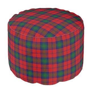 Clan Lindsay Scottish Style Red Green Tartan Pouf