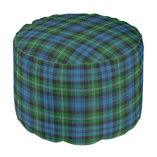 Clan Lyon Scottish Style Blue Green Tartan Pouf