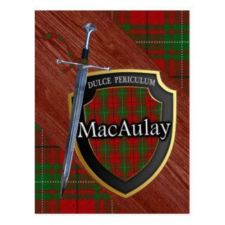 Clan MacAulay Tartan Sword & Shield Postcard