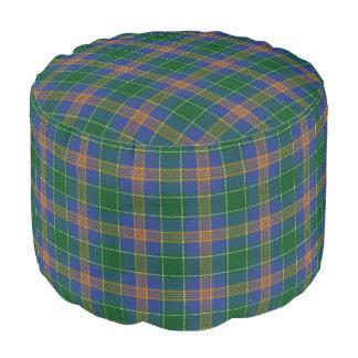 Clan MacAuliffe Irish Style Blue Green Gold Tartan Pouf